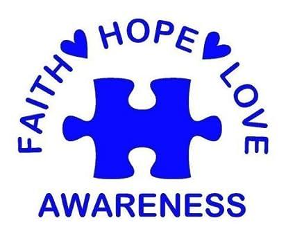 Amazon Faith Hope Love Autism Awareness Puzzle Logo Stickers