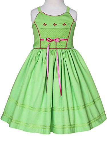 Carouselwear Girls Pinafore Summer Dress in Apple Green with Smocked Front