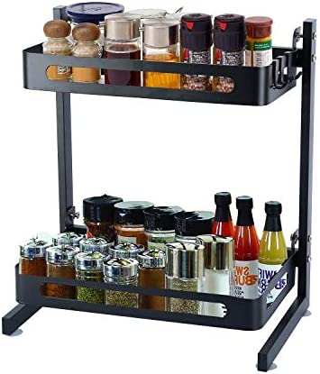 2 Tier Metal Kitchen Spice Rack, Countertop Storage Organizer Shelf Detachable for Easy Cleaning, Black