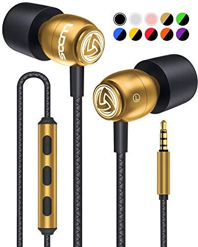 LUDOS Clamor Kopfhörer In Ear - Wired Ohrhörer mit Mikrofon und Bass, Premium-Audioqualität, Memory Foam, Verstärktes Kabel, Earphones mit Lautstärkeregler für iPhone, iPad, Computer, Laptop, PC