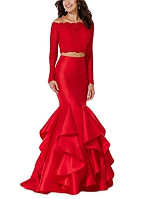 Women's Two Piece Off the Shoulder Long Sleeve Mermaid Evening Dresses With Pleats Long Prom Gowns 069