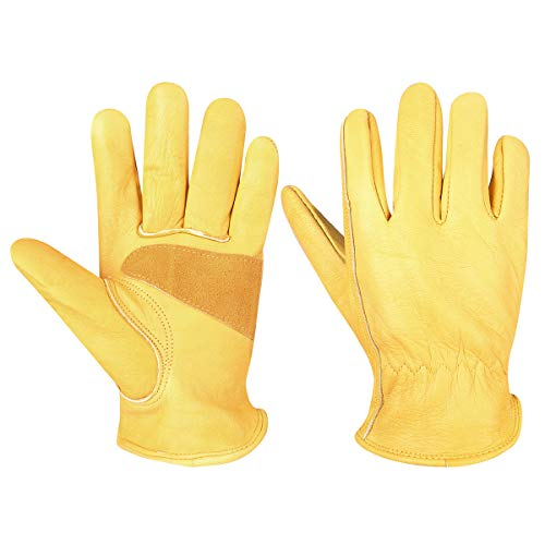 CCBETTER Leather Work Gloves with Tape Wrist Wear Resistant Cowhide Gardening Gloves For DIY,Yardwork,Cutting,Construction,Motorcycle (L, Elastic Wrist)