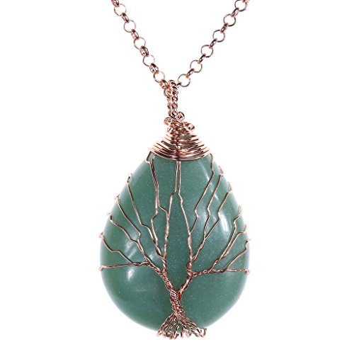Vintage Wrapped Teardrop Gemstones Necklace