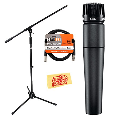 Shure SM57-LC Instrument/Vocal Cardioid Dynamic Microphone Bundle with Mic Boom Stand, XLR Cable, Mic Clip, and Bag (Shure Cardioid Microphone Dynamic)
