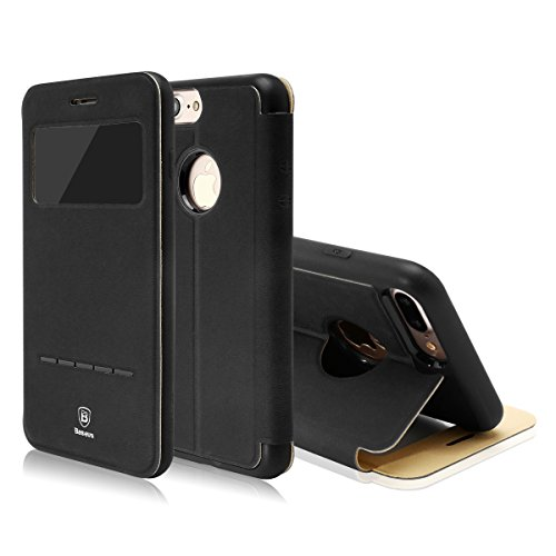 Case for iPhone 8 Case, [Stand Case] iPhone 7 Flip Case PU Leather Case with Magnetic Closure/ Smart Touch Sensor/ View Window/ Full Protection TPU Bumper Case 4.7inch (Black)
