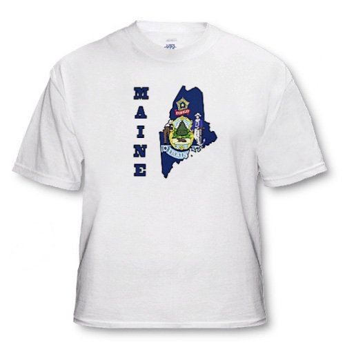 Maine state flag in the outline map and letters for Maine - Adult T-Shirt Medium