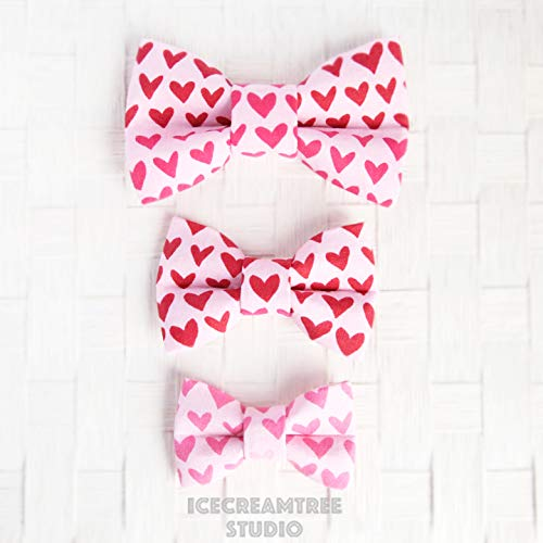 Pink Red Hearts - Bow Tie Collar Slide On, Collar Add On Bowtie, Bow Collar Accessories