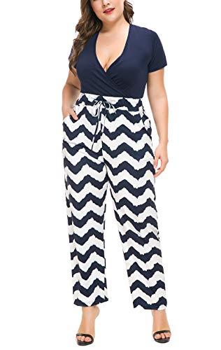 (PlusSize Depot Women's Plus Size Deep V Neck Drawstring Waisted Long Pant Jumpsuit Set 1PC 1XL-5XL Blue)