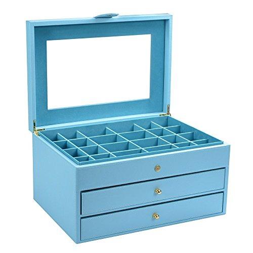 Smonet PU Leather Jewelry Box / Storage Organizer Case / Holder for Women Teens and Girls, 24 Small Compartments with 2 Large Drawers & Modern Buckle Closure- Blue