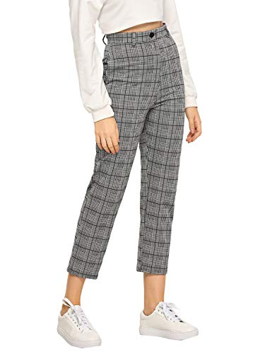 SOLY HUX Women's Mid Waist Plaid Button Loose Pencil Pants Cropped Trousers Grey S