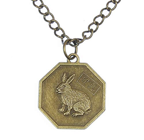 Zodiac Chinese Rabbit - Style ARThouse Year of The Rabbit, Chinese Zodiac Octagonal Pendant on Chain; 18 Inches Adjustable