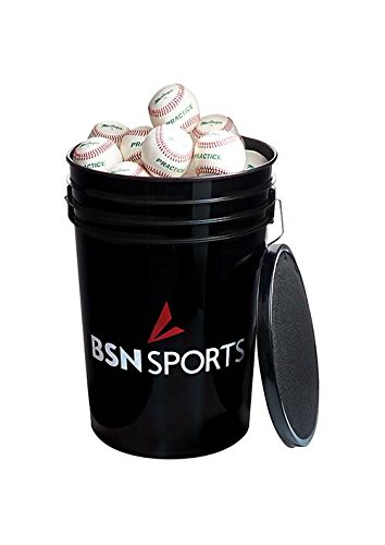 Athletic Connection Sports Bucket with 79P Baseballs in Black by Athletic Connection