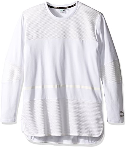PUMA Men's Evo Bball Long Sleeve Tee, Puma White, Medium
