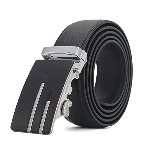 Mens Gift Belt Buckle (XYZDOUBLE Men's Leather Belt Sliding Buckle Black Automatic Ratchet with Gift Box-35mm Wide)