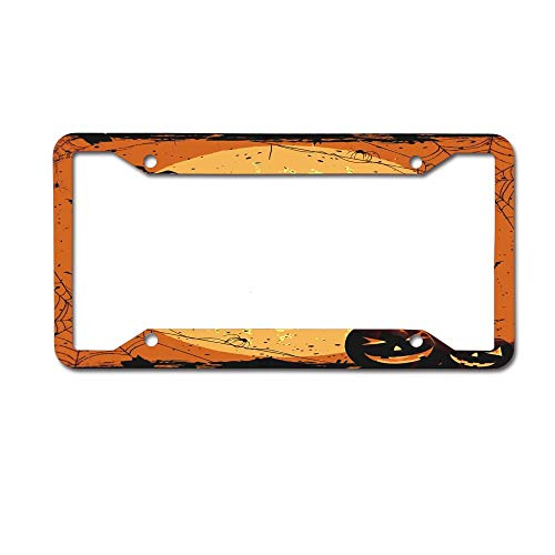 PoppyAnthony Halloween Full Moon Pumpkin Licence Plate Frame Aluminum License Plate Cover for US Canada 4 Hole and Screw ()