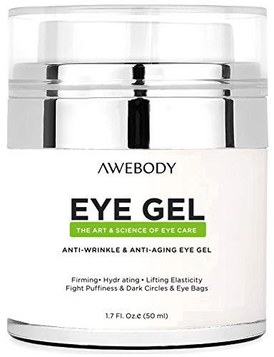 Upgraded Awebody Eye Gel Cream for Dark Circles, the Most Effective Anti-Aging Eye Gel and Eye Circle Cream, Anti Aging Eye Cream for Day and Night Using, the Best Eye Gel Cream for 2018