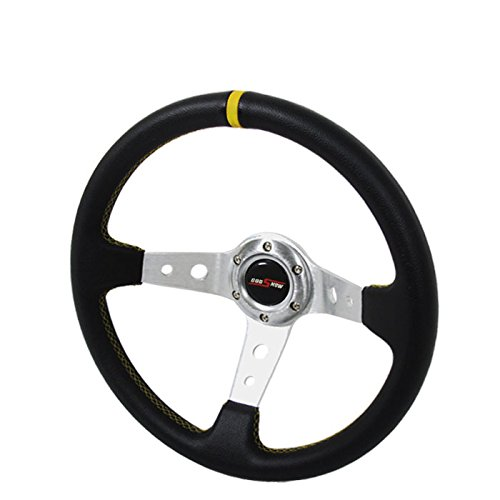 350mm Deep Dish Steering Wheel 6 Bolt Universal Custom (Chrome Yellow)
