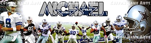 Nfl Personalized Picture (Personalized Dallas Cowboys NFL Banner Birthday Poster Custom Name Painting Wall Art)