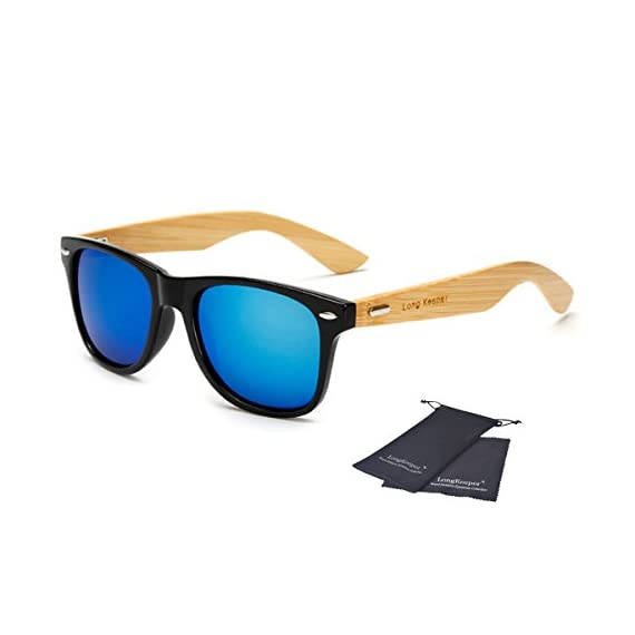 Long Keeper Bamboo Wood Arms Sunglasses for Women Men 1 Total Revolution Design-100% real Wood arms that support a plastic frame with unique stainless-steel, double-spring hinges are sturdy and designed to keep their shape perfect High Quality Lens -Helps to block harmful UVA and UVB rays--certified UV400 protection.Flexible spring hinges for comfort & durability help prevent slippage during physical activity. Lightweight-Only 29g, The lightweight Quality Wood offers a comfortable fit that is durable and sturdy at the same time.