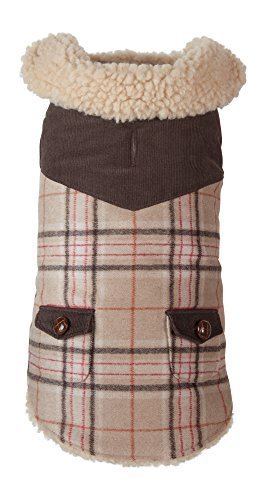 Fab Dog Wool Plaid Shearling Dog Jacket, Camel, 22  Length by Fab Dog