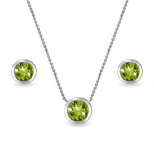 (Sterling Silver Peridot 7mm Round Bezel-Set Solitaire Dainty Necklace and Stud Earrings Set for Women)