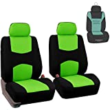 FH Group FB050102 Flat Cloth Front Pair Bucket Seat Covers w. Gift, Green/Black Color- Fit Most Car, Truck, SUV, or Van