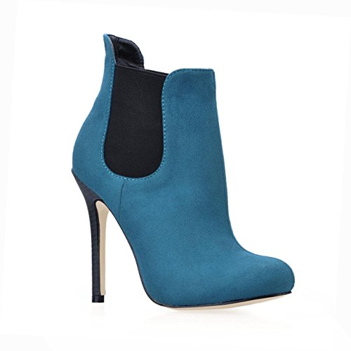 Boots Zipper Rubber Stiletto 4U 7CM Greeen 9 Round Women's High Heels Velvet Shoes Elastic Sole Best Toe 7ETwqz6w