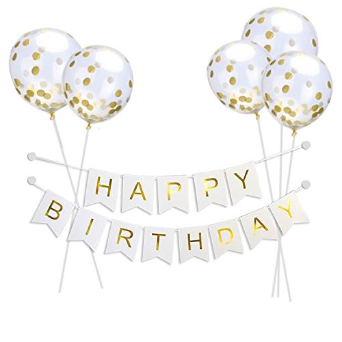 Read About Willaire Happy Birthday Banner &5 Pieces Gold Confetti Balloons Party Balloons With Golde...