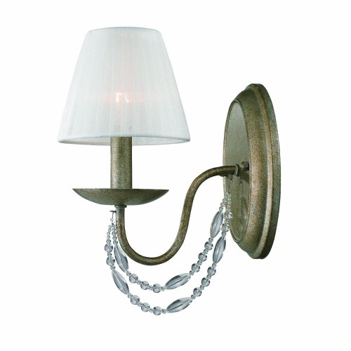 Golden Lighting 76441WGA  Sconce with Pearl Chiffon Shades,  Golden Aura (Pearl Bathroom Sconce)