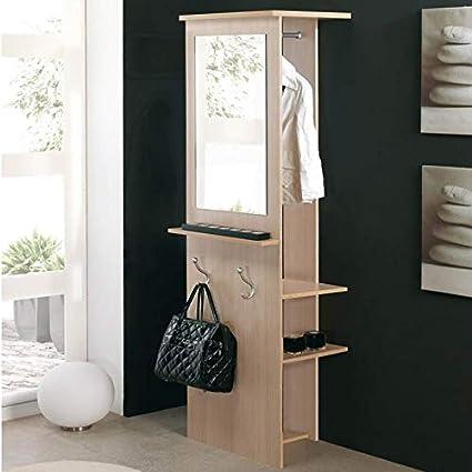 Miroytengo Mueble recibidor con Perchero Espejo y estantes Color Haya Entrada Pasillo 182x42x60 cm