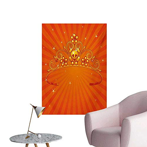 Anzhutwelve Queen Wall Sticker Decals Fancy Halloween Princess Crown with Little Skull Daisies on Radial Orange Backdrop StarsOrange W24 xL32 Custom Poster]()