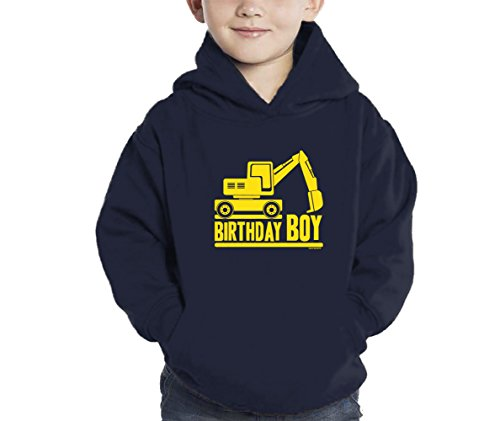 HAASE UNLIMITED Toddler Little Boy Birthday Boy Tractor Hoodie Sweatshirt (5/6, Navy Blue) (Swirl Jumper Set)