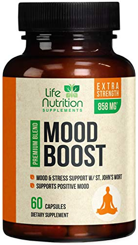 Mood Boost Support for Stress & Anxiety Relief 1100mg - Natural Serotonin Production & Nootropic Dopamine Booster, Focus Supplement Pills w/ 5-HTP - 60 Capsules