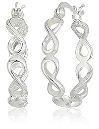 925 Sterling Silver 4X22 mm Polished Infinity Click Top Hoop Earrings