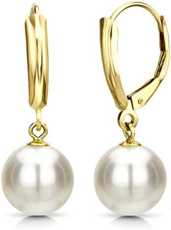 White Cultured Freshwater Pearl Earrings Leverback Dangle 14K Gold Jewelry for Women