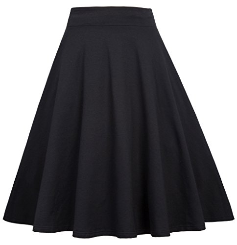 Belle Poque Classic Black Swing Skirt for Work Flare Skirts Size XL BP439-1 Classic Flare Skirt