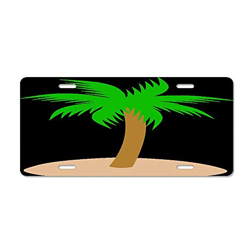 License Plate, Car Accessories Aluminum License Plate Cover for Car Truck Vehicles 6x12 Inch - Sand Clipart Palm Tree