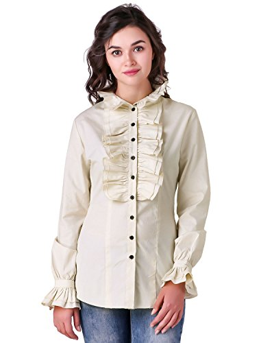 (ThePirateDressing Steampunk Gothic Victorian Cosplay Costume Women's Stand-up Collar 100% Cotton Blouse Shirt (Natural))