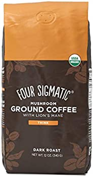 Mushroom Ground Coffee by Four Sigmatic | Organic and Fair Trade Coffee with Lions Mane, Chaga, & Mushroom Powder | Focus &