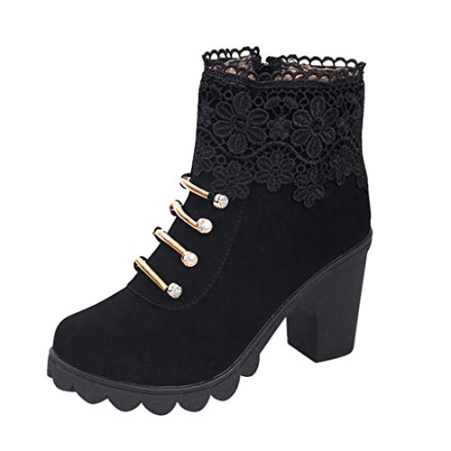 Miuye yuren-Shoe Womens Casual Ankle Booties Office Party Chunky Heel Western Bootie Closed Toe Shoes Leather Short Boots Black