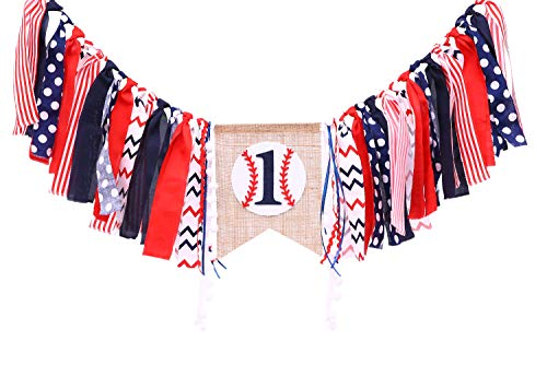 Baseball Banner For 1 St Birthday - First Birthday Decorations For Baseball Rag Tie Fabric Garland, Photo Booth Props Red White Blue, Birthday Souvenir And Gifts For Boy]()