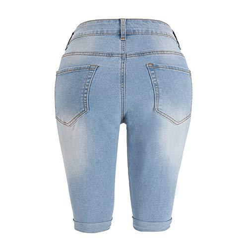 THUNDER STAR Womens Denim Ripped Bermuda Shorts Distressed Knee Length Stretch Short Jeans
