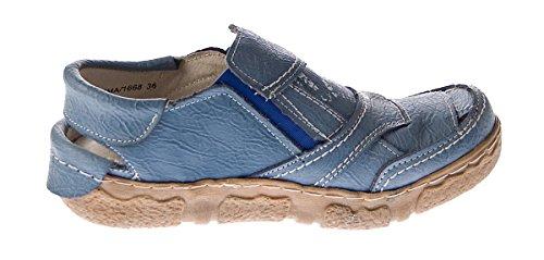 mujer de TMA Piel Lisa para azul de Sandalias vestir Azul WqRwRnZH10