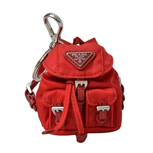 (Prada Steel key ring with Red nylon iconic prada backpack coin purse Key Chain 1TT010)