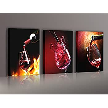 Nuolanart Canvas Wall Art 3 Panels Framed Wine Prints For Home Decoration P3S4060x3