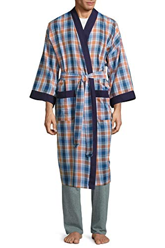 - IZOD Men's Big and Tall Lightweight Cotton Broadcloth Robe (Blue & Orange Plaid, 2X/3X)