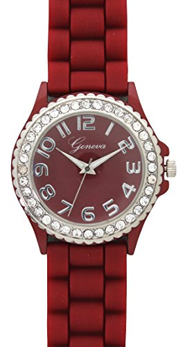Geneva Crystal (Geneva Silicone Watch Unisex Crystals Rhinestones Wrist Watch Medium Size Dial (Burgundy))
