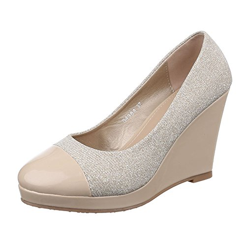 Damen Schuhe, 54384, Pumps Keil Wedges Beige