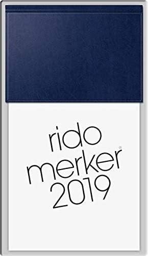 Baier & Schneider 703500338 Tischkalender Merker (1 Seite = 1 Tag, 108 x 201 mm, Miradur-Einband, Kalendarium 2020) dunkelblau