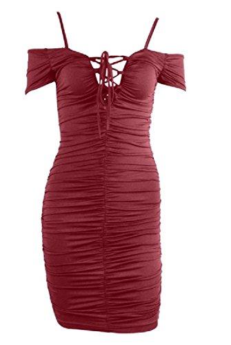 Incrociate Dell'anca Pieghettato Off Cinghie Spalla Di Womens Vino Rosso Solido Del Vestito Comodi Pacchetto qtw5F0H